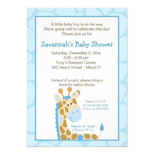"Blue Giraffe Baby Shower Invitations Blue Giraffe Boy Baby Shower Invitation 4 5"" X 6 25"