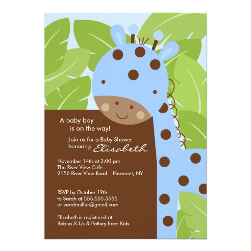 blue giraffe boy baby shower invitation