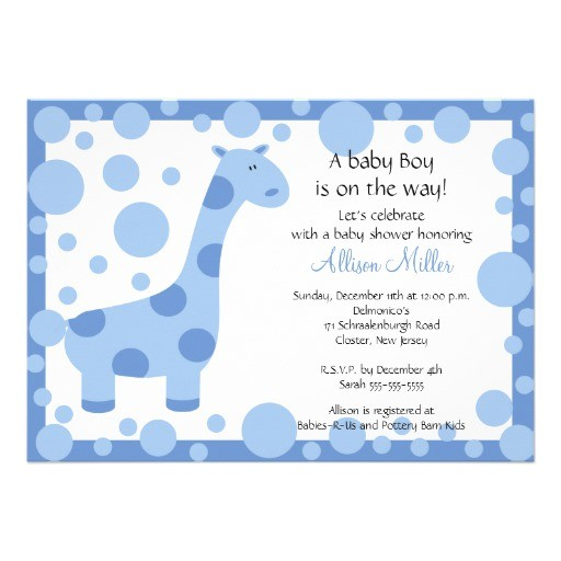 cute blue giraffe boy baby shower invitation