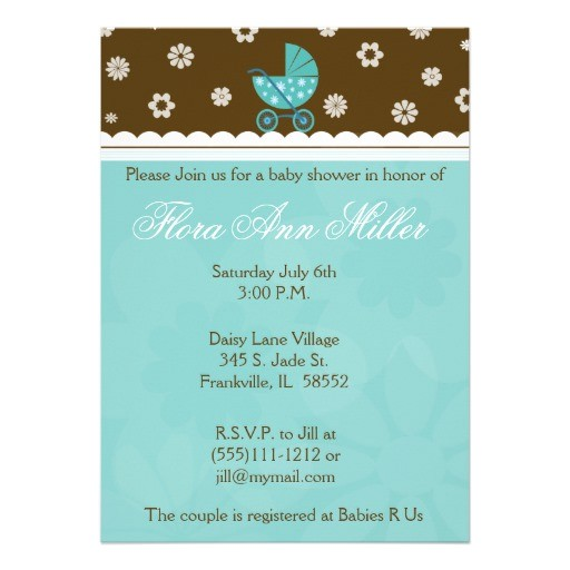 """Blue Green Brown Baby Shower Invitations Blue and Brown Baby Buggy Baby Shower Invitation 5"""" X 7"""