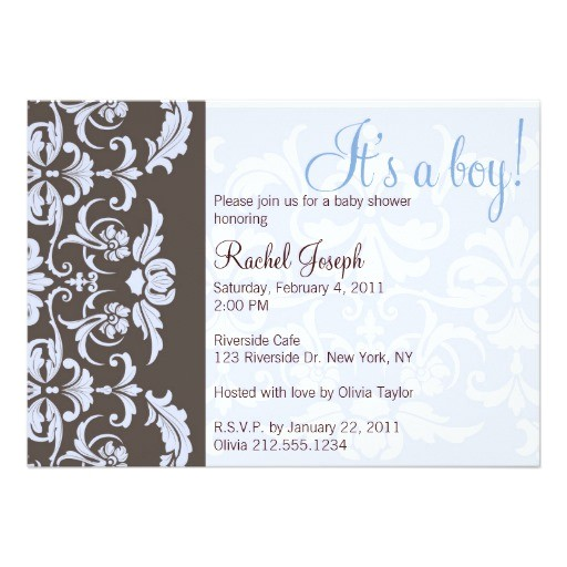 blue and brown damask baby shower invitation