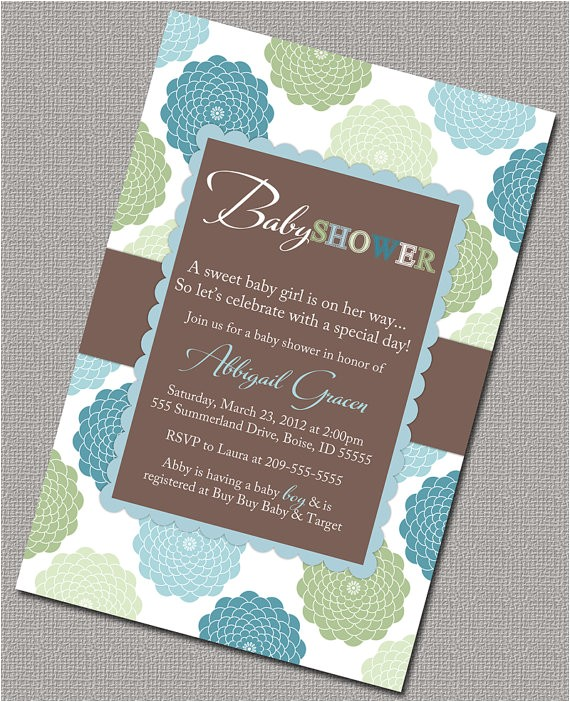 baby boy shower invitations blue green