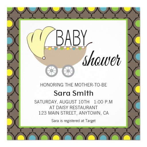 green yellow blue brown baby shower invitation