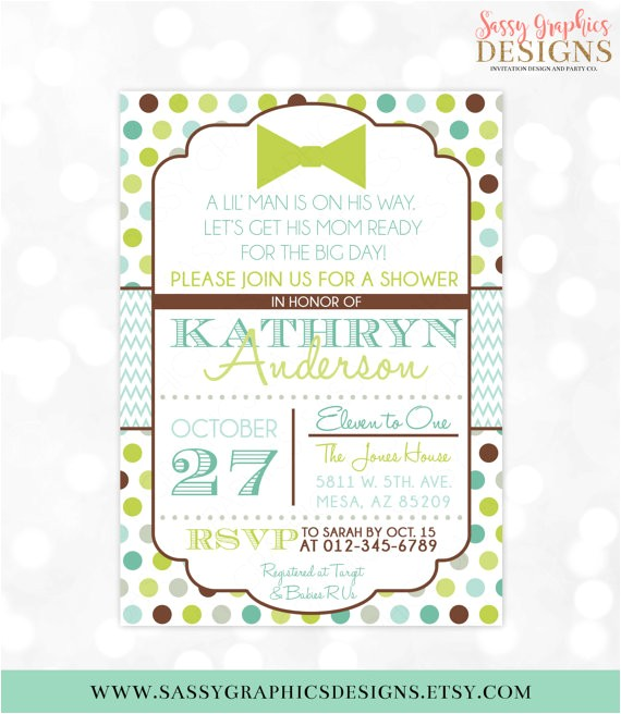 boy baby shower invitation lil man