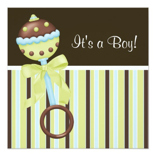mint green blue brown baby boy shower invitations