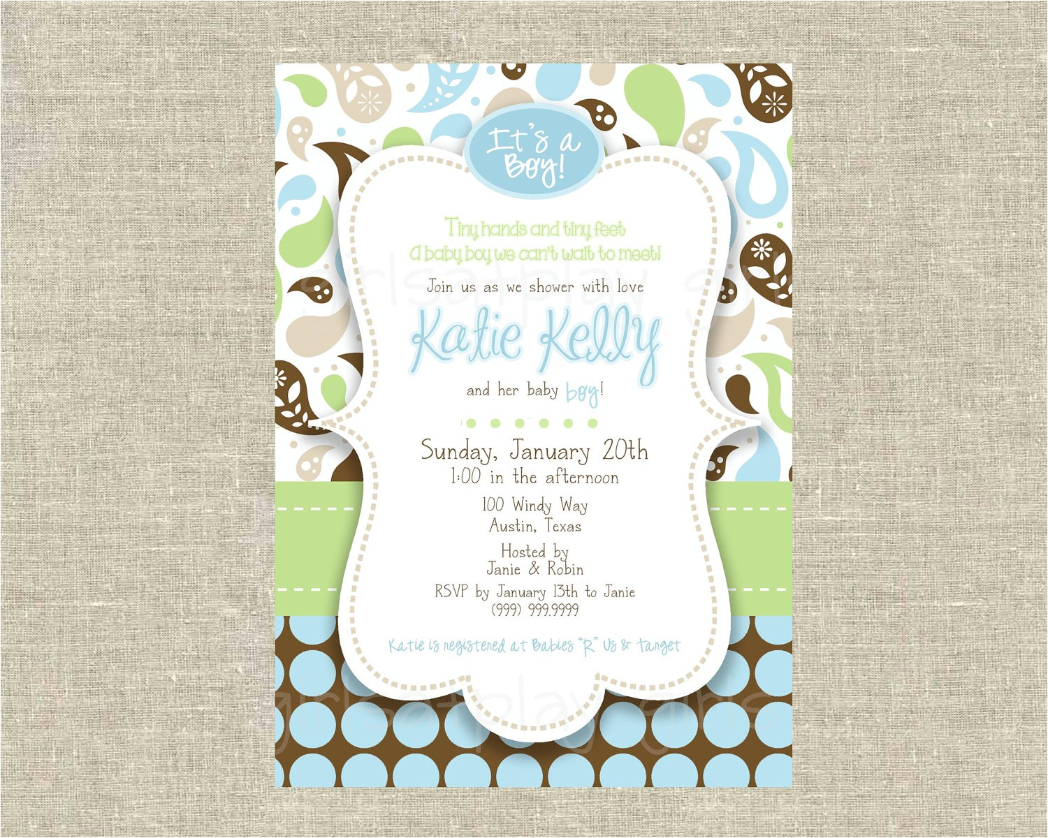 mod baby boy shower invitation paisley