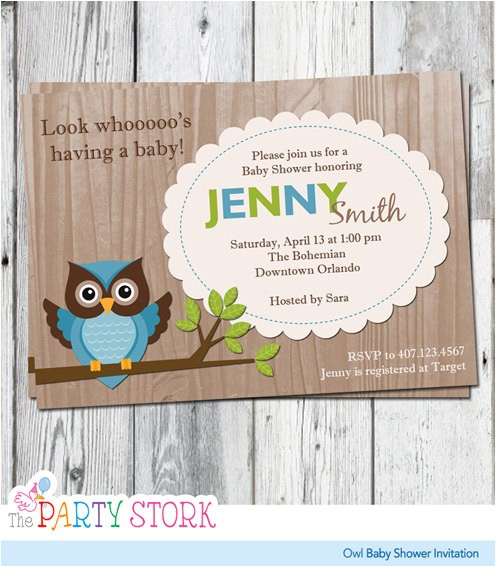 owl baby shower invitations blue green