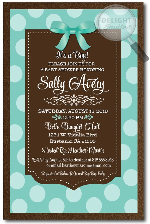 Blue Green Brown Baby Shower Invitations Tiffany Blue and Chocolate Brown Baby Shower Invitations