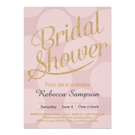 blush and gold bridal shower invitations