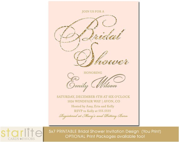 blush pink gold bridal shower invitation