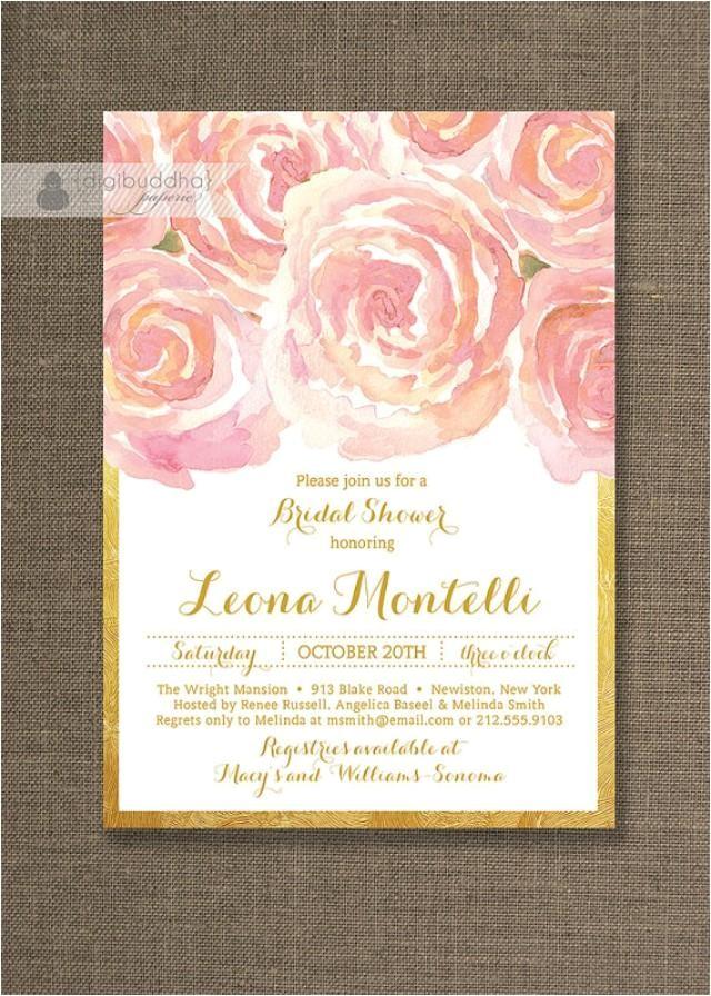 blush pink gold bridal shower invitation roses shabby chic ranuncula flower metallic wedding free priority shipping or diy printable leona