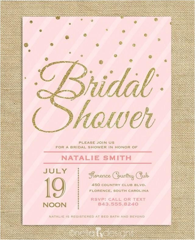 blush pink gold glitter bridal shower invitation confetti stripes wedding shower printable bridal brunch invite