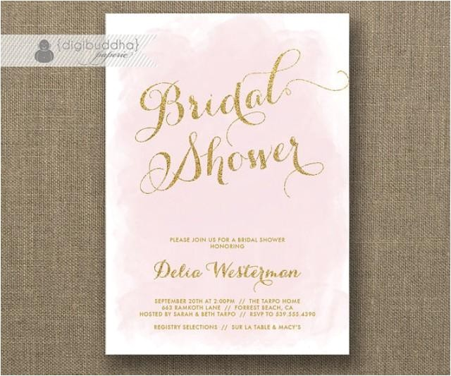 blush pink gold glitter bridal shower invitation watercolor shabby chic wedding hens party free priority shipping or diy printable delia