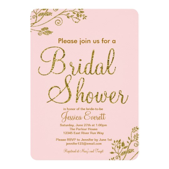 blush pink gold glitter bridal shower invitation 161335819536057931