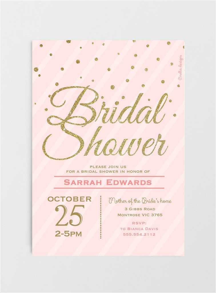 blush pink gold glitter bridal shower invitations