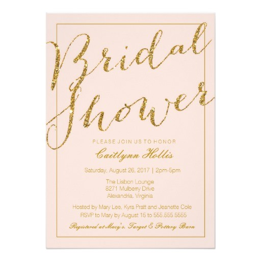Blush Pink and Gold Bridal Shower Invitations Gold Glitter Blush Pink Bridal Shower Invitation Zazzle