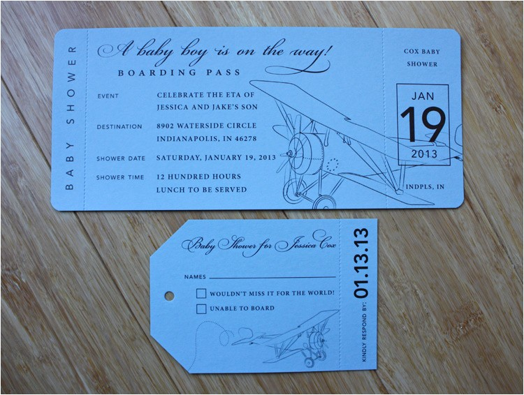 baby blue brown vintage airplane boarding pass baby shower invitations
