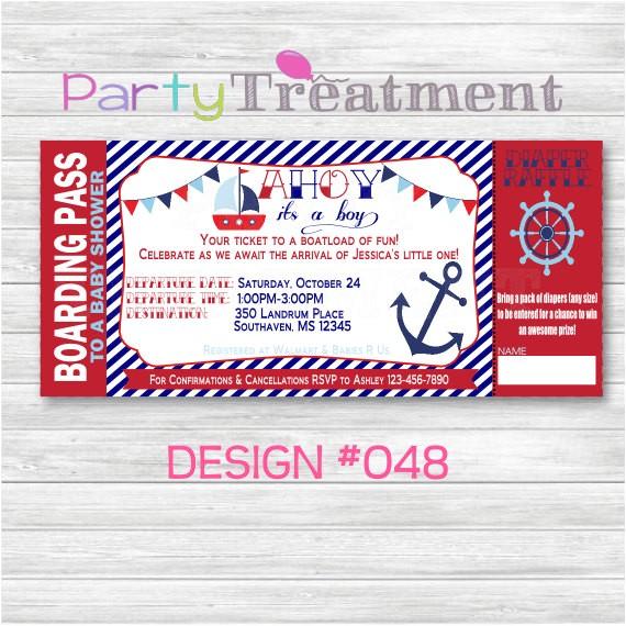 nautical baby shower boarding pass