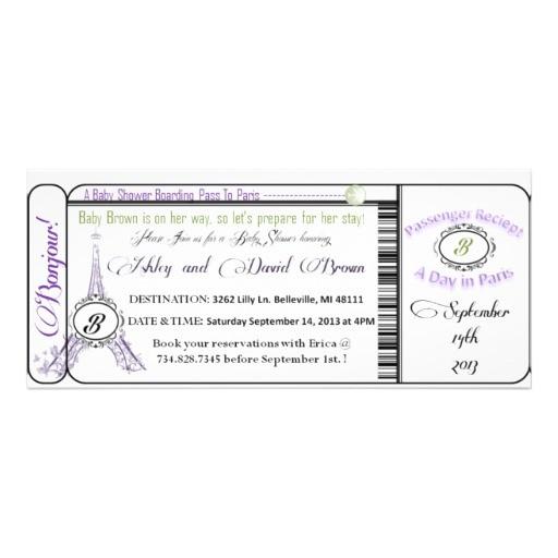 paris baby shower boarding pass invitation