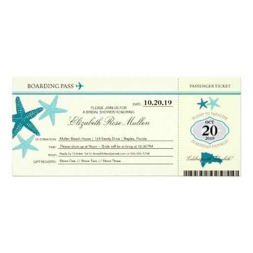 dominican republic bridal shower boarding pass 4x9 25 paper invitation card
