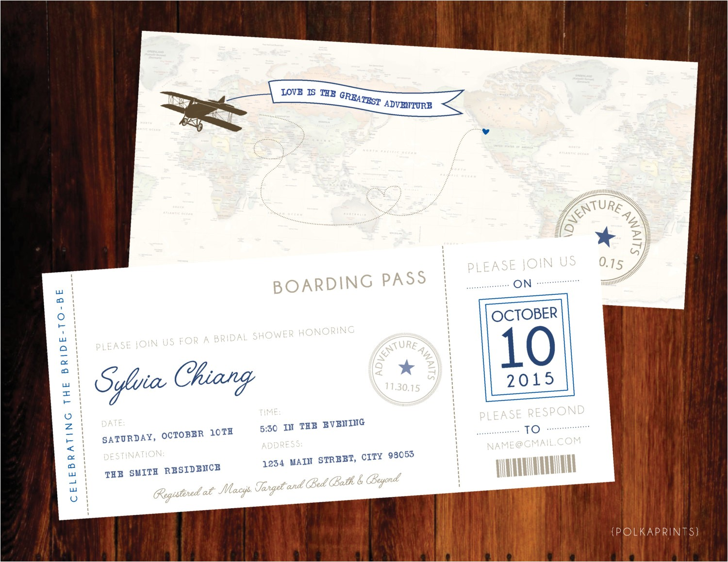 travel boarding pass bridal shower