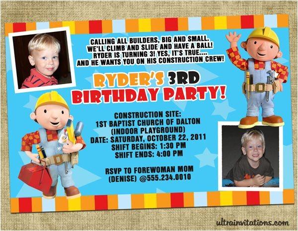 bob the builder invitations