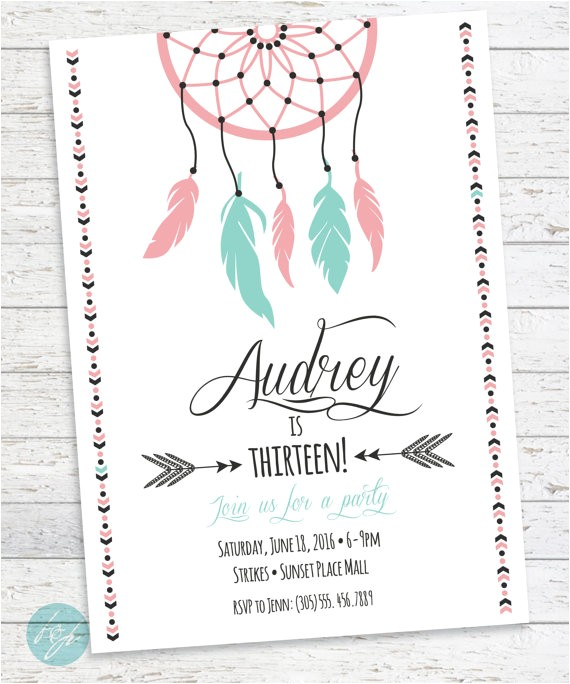 boho birthday invitation aztec tribal