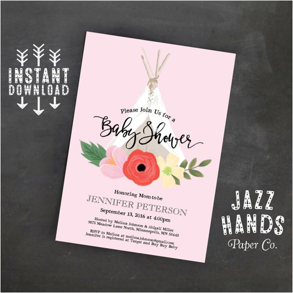 teepee boho chic baby shower invitation 2