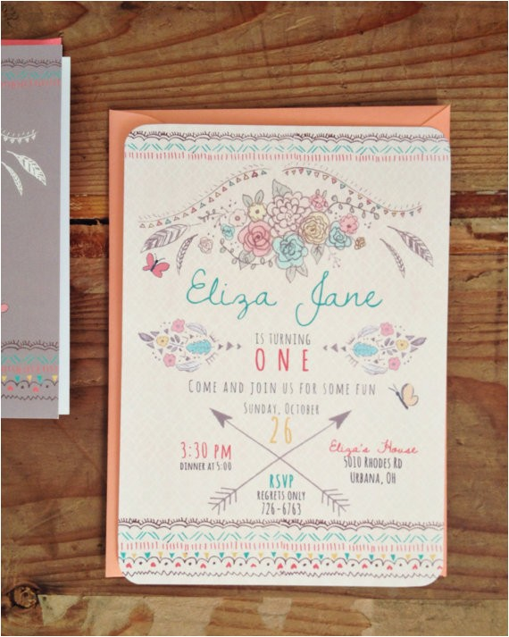 boho chic birthday invitation bohemian