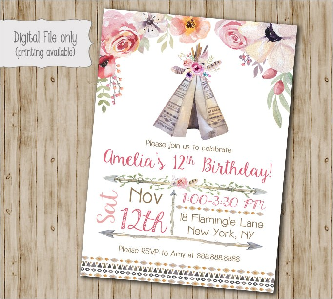 boho chic birthday invitation teepee