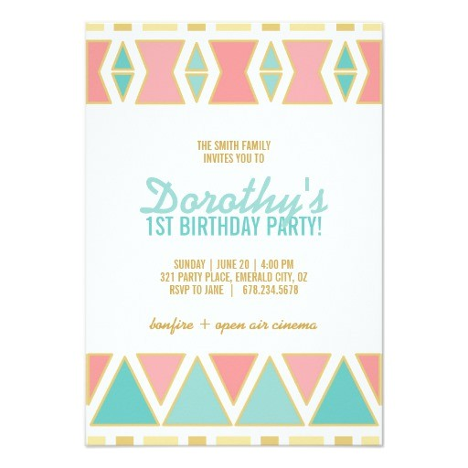 boho chic birthday party invitation pink