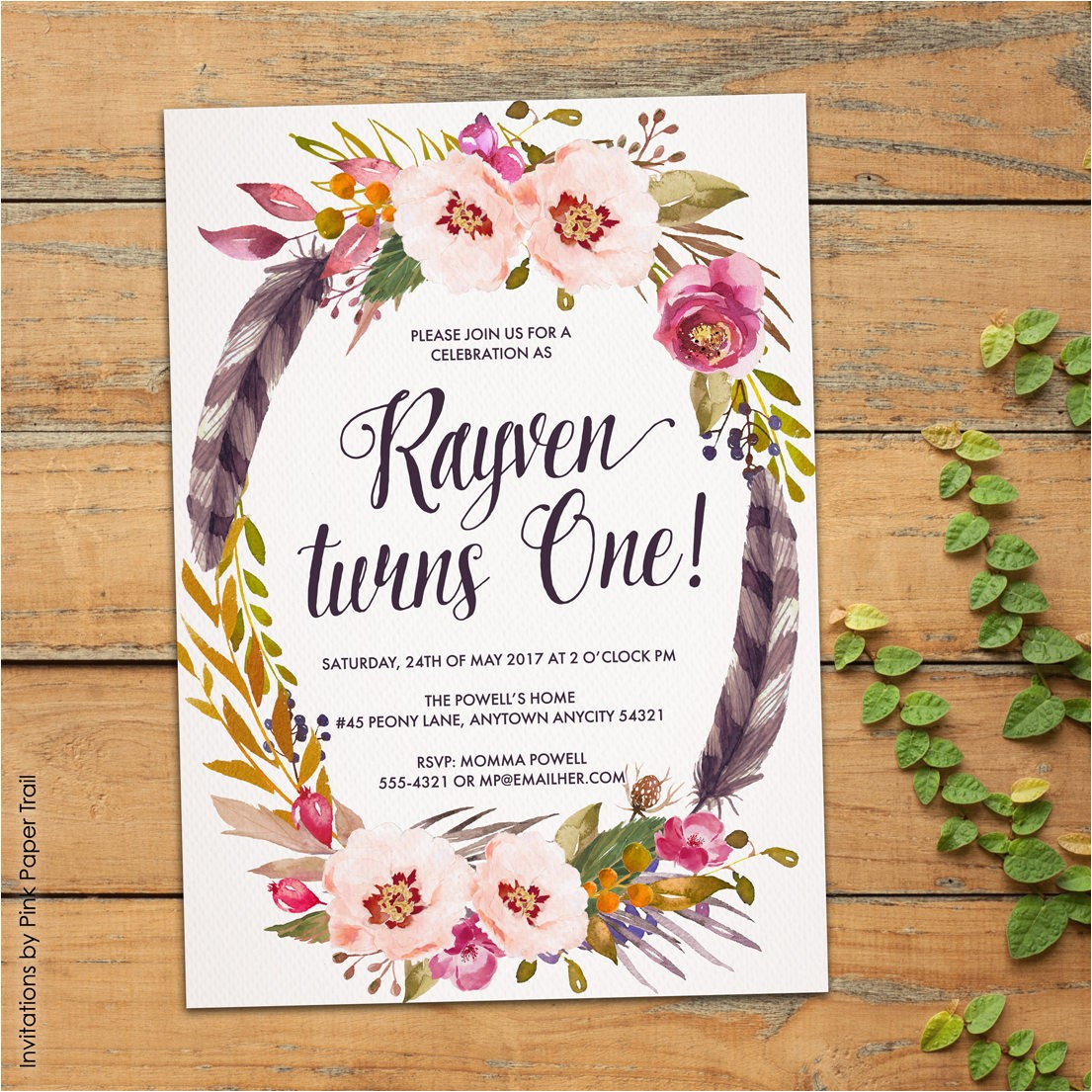 boho first birthday party invitation