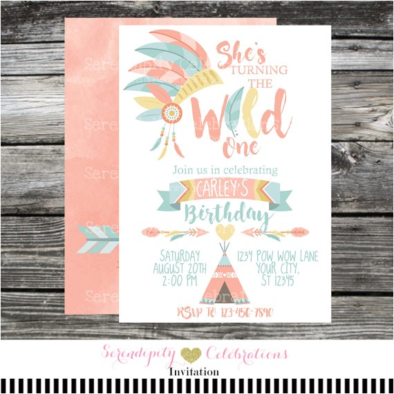 wild birthday invitation tribal invite boho