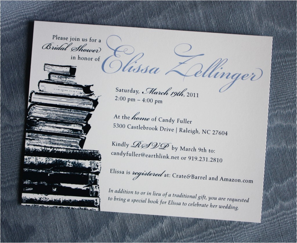 navy and periwinkle book bridal shower invitations