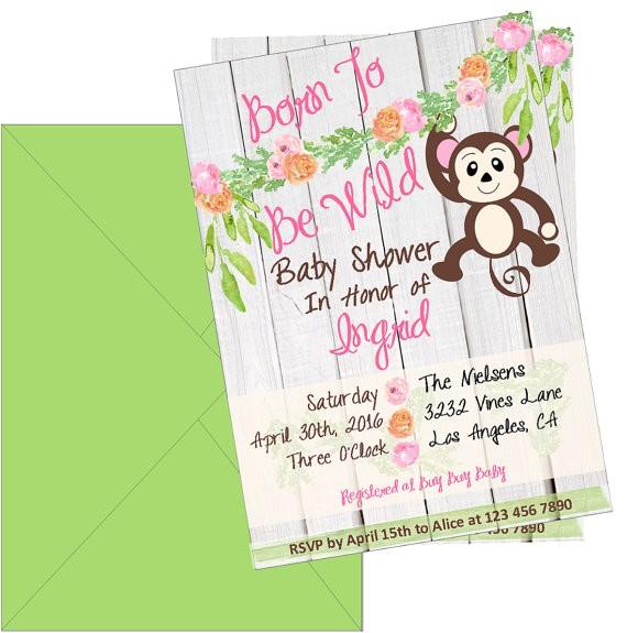 girl baby shower invitation jungle baby