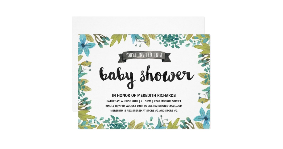 botanical baby shower card