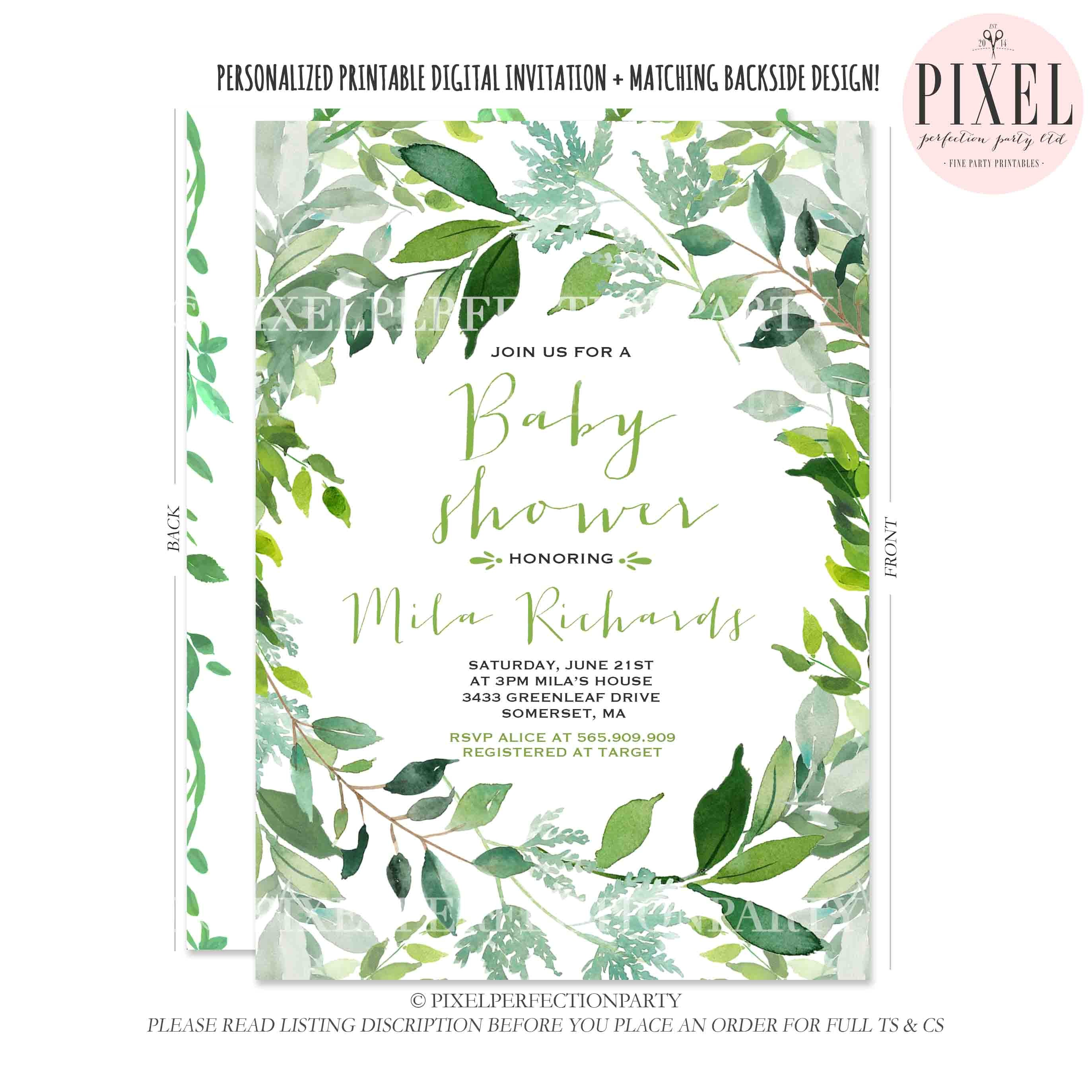 botanical baby shower invitation green