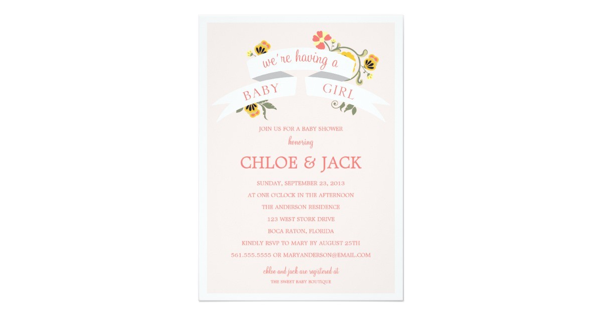 botanical banner baby shower invitation