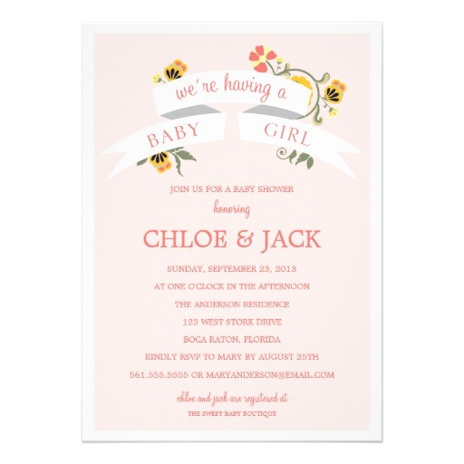 Botanical Baby Shower Invitations Botanical Banner Baby Shower Invitation