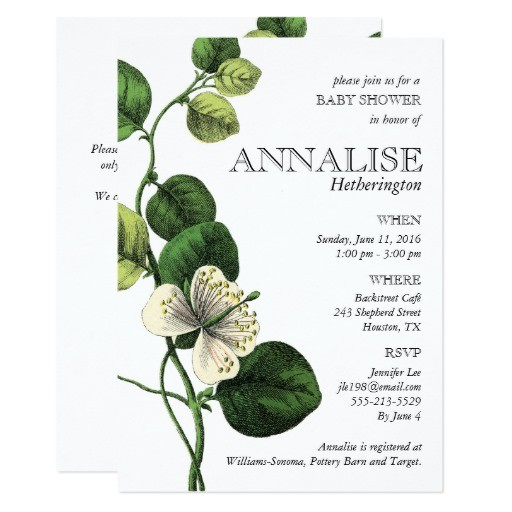 vintage botanical chic baby shower invitations