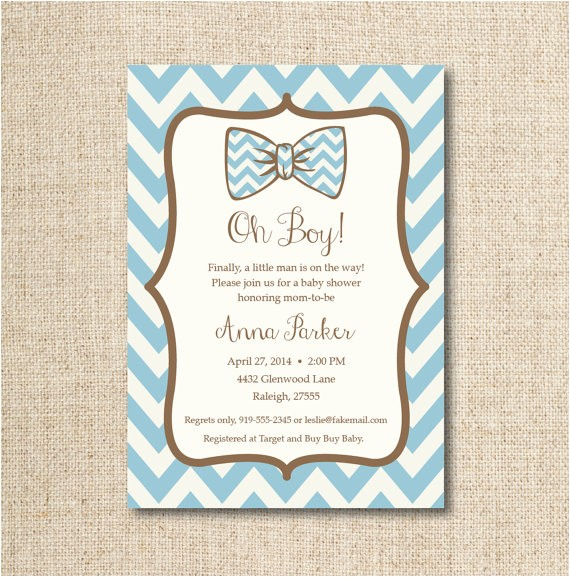 baby bow tie shower invitation custom