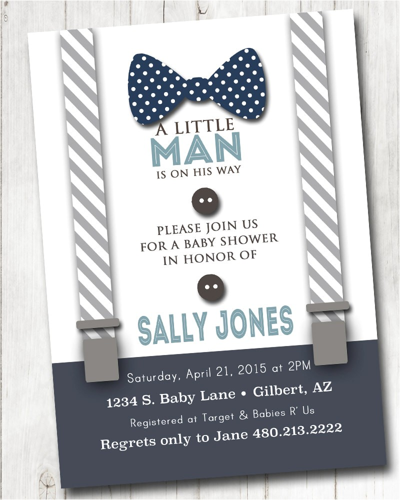 boy baby shower invitation with bow tie