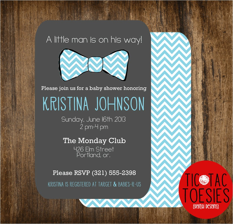 little man baby shower invitation bow