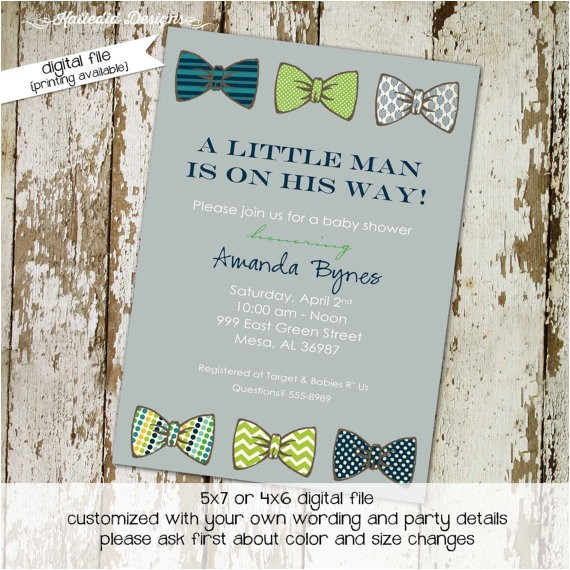 baby boy shower invitation with bow ties