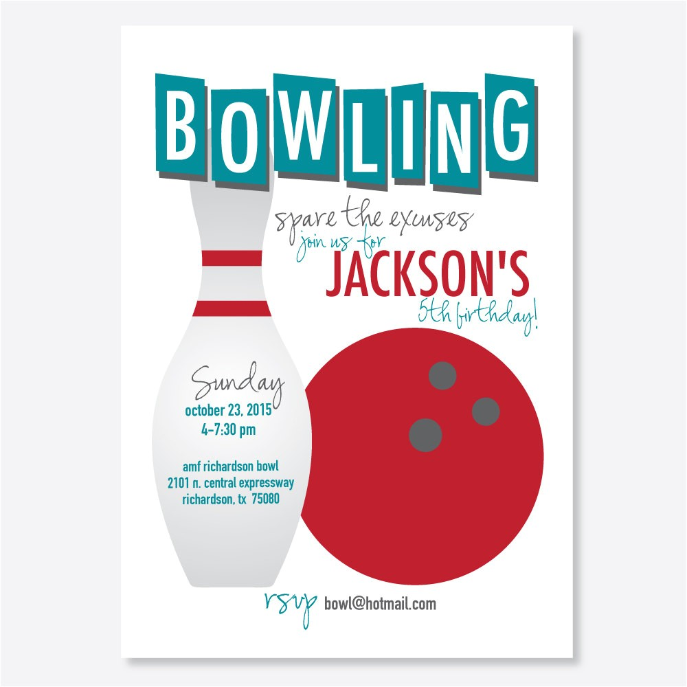 bowling party invitation kids birthday