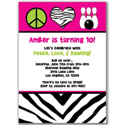 peace love and bowling invitations for