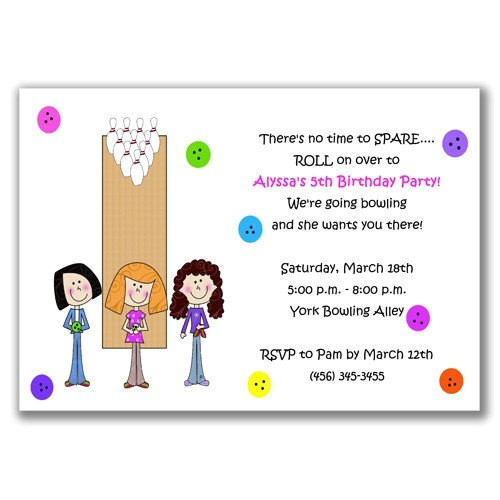 bowling girls invitations for kids
