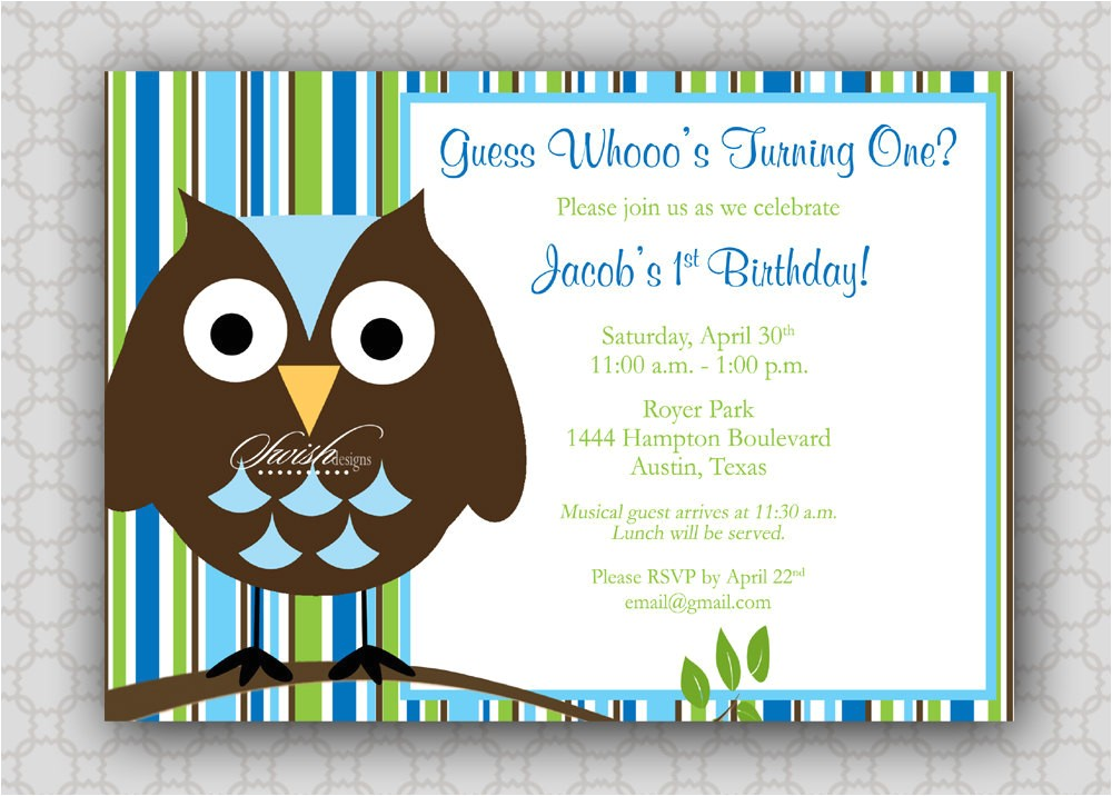 Boy Owl First Birthday Invitations 301 Moved Permanently