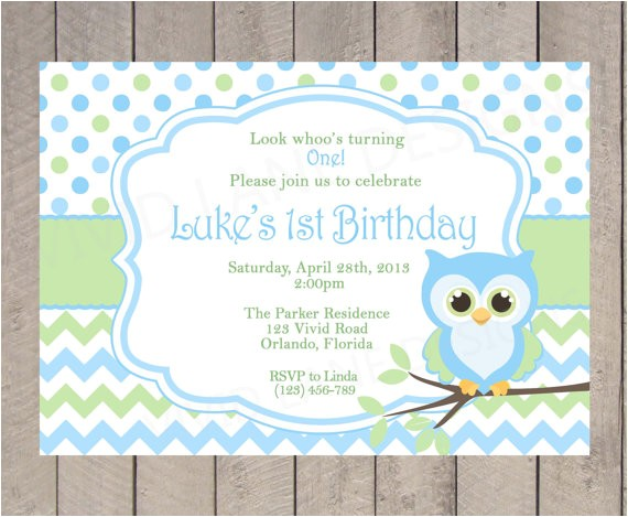boy owl birthday invitation first