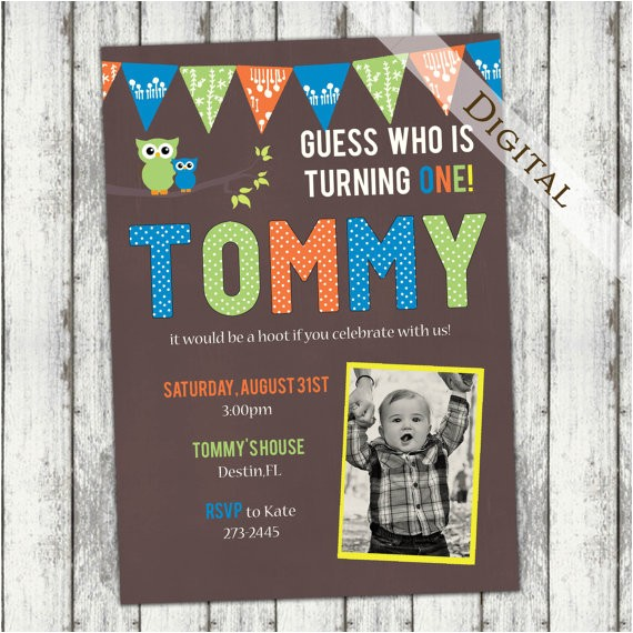 owl first birthday invitation with photo